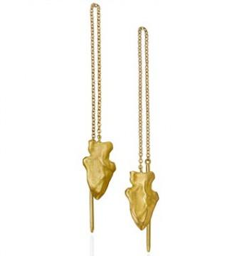 Arrowhead thread earrings in 18K yellow gold.