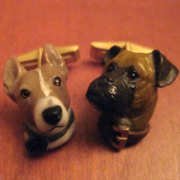 Custom dog cufflinks by Wendy Brandes.