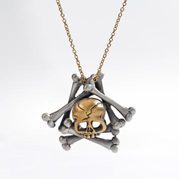 Memento Mori skull and bones necklace.