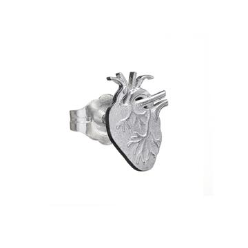 Anatomical heart single stud earring in silver.