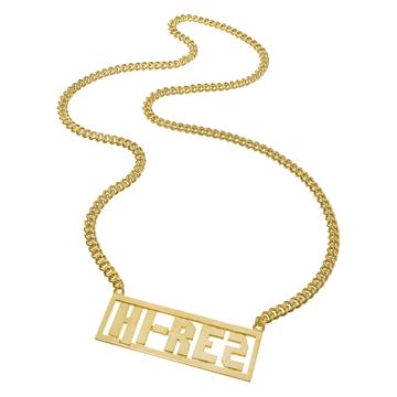 Custom-made nameplate necklace for rapper Hi-Rez.
