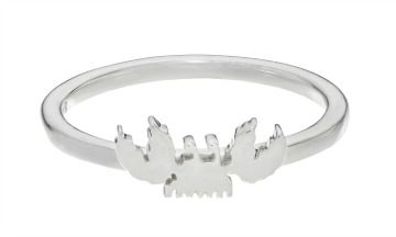 Crab emoji ring in silver.