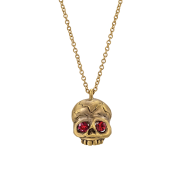 Memento Mori skull necklace with rubies.