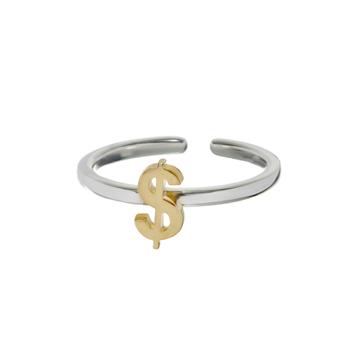 Mid-finger dollar-sign ring.