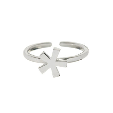 Mid-finger asterisk ring.