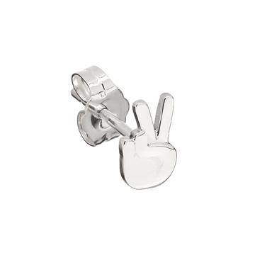 Peace sign emoji stud earring.