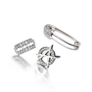 Punk Platinum Earring Trio