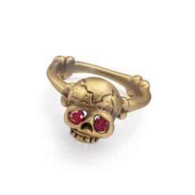 Memento Mori Skull Ring - Rubies