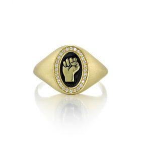 Pinkie Signet Ring for Rebel Women - Resist Fist