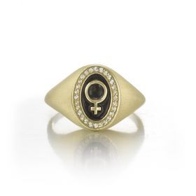 Pinkie Signet Ring for Rebel Women - Venus Symbol
