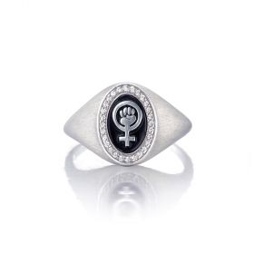 Pinkie Signet Ring for Rebel Women - Venus with Resist Fist