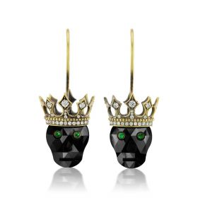 Carpe Diem Crowned Skull Drop Earrings