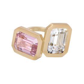 Clemence Ring - Kunzite & Crystal